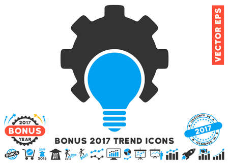 gray bulb: Blue And Gray Bulb Configuration Gear pictograph with bonus 2017 trend clip art. Vector illustration style is flat iconic bicolor symbols, white background.