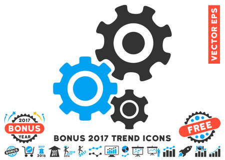 industry trends: Blue And Gray Gear Mechanism pictograph with bonus 2017 year trend clip art. Vector illustration style is flat iconic bicolor symbols, white background. Illustration