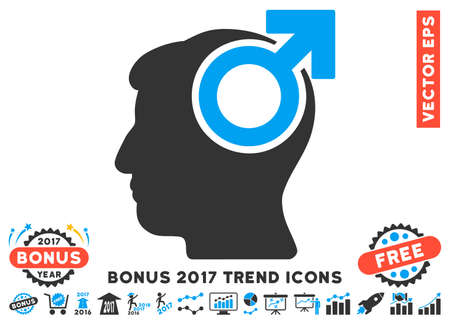 potency: Blue And Gray Intellect Potency icon with bonus 2017 trend pictures. Vector illustration style is flat iconic bicolor symbols, white background.