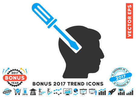 Blue And Gray Head Screwdriver Tuning icon with bonus 2017 year trend images. Vector illustration style is flat iconic bicolor symbols, white background.