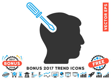 Blue And Gray Head Surgery Screwdriver pictograph with bonus 2017 year trend icon set. Vector illustration style is flat iconic bicolor symbols, white background.