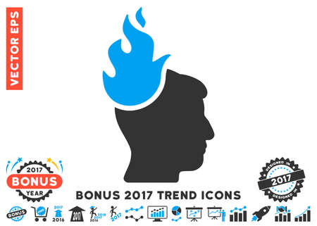 ruch: Blue And Gray Fired Head pictograph with bonus 2017 year trend images. Vector illustration style is flat iconic bicolor symbols, white background. Illustration