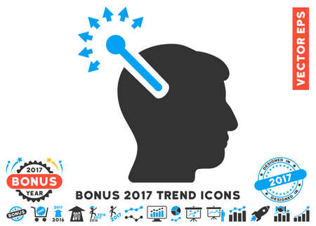 cerebra: Blue And Gray Optical Neural Interface pictogram with bonus 2017 trend pictograms. Vector illustration style is flat iconic bicolor symbols, white background.