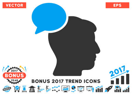 hominid: Blue And Gray Person Idea icon with bonus 2017 trend icon set. Vector illustration style is flat iconic bicolor symbols, white background.