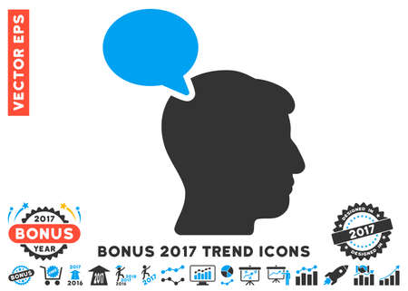 hominid: Blue And Gray Person Opinion icon with bonus 2017 year trend images. Vector illustration style is flat iconic bicolor symbols, white background. Illustration