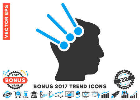 Blue And Gray Neural Interface Connectors icon with bonus 2017 year trend pictograph collection. Vector illustration style is flat iconic bicolor symbols, white background. Illustration