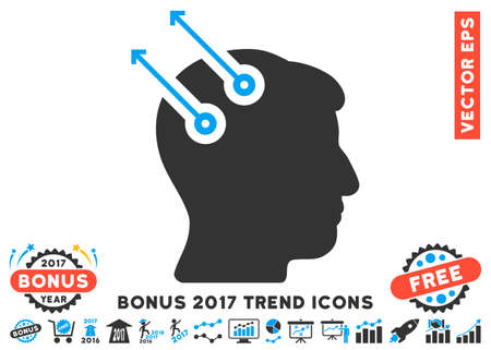 cerebra: Blue And Gray Neural Interface Plugs pictogram with bonus 2017 trend pictograms. Vector illustration style is flat iconic bicolor symbols, white background.