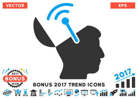 cranial: Blue And Gray Open Brain Radio Interface pictograph with bonus 2017 year trend elements. Vector illustration style is flat iconic bicolor symbols, white background.