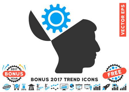 Blauwe en grijze Open Head Gear pictogram met bonus 2017 jaar trend icon set. Vector illustratie stijl is vlak iconische symbolen bicolor, witte achtergrond. Stockfoto - 69083959
