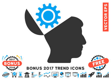 Blue And Gray Open Head Gear pictogram with bonus 2017 year trend icon set. Vector illustration style is flat iconic bicolor symbols, white background.