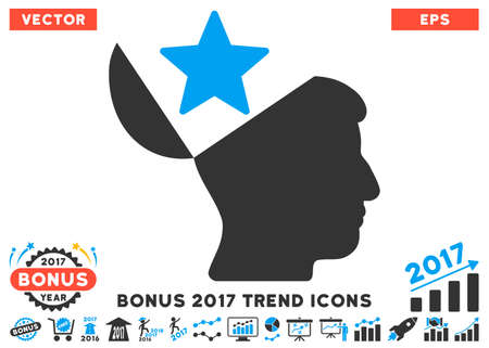 open minded: Blue And Gray Open Head Star pictogram with bonus 2017 year trend clip art. Vector illustration style is flat iconic bicolor symbols, white background.