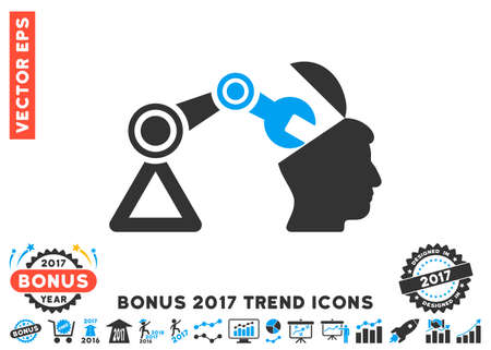 sculp: Blue And Gray Open Head Surgery Manipulator pictogram with bonus 2017 year trend symbols. Vector illustration style is flat iconic bicolor symbols, white background.