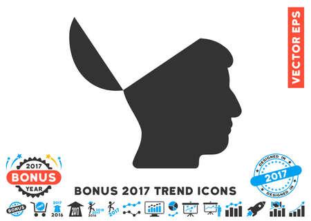 Blaue und graue Open Mind-Symbol mit Bonus 2017 Trend-Icon-Set. Vektorillustrationsart ist flache ikonenhafte zweifarbige Symbole, weißer Hintergrund. Vektorgrafik