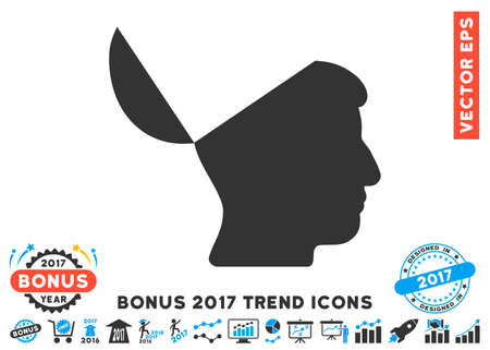 sculp: Blue And Gray Open Mind icon with bonus 2017 trend icon set. Vector illustration style is flat iconic bicolor symbols, white background.