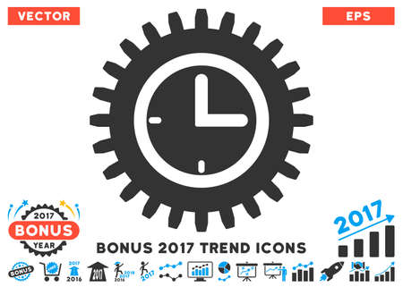 schedule system: Blue And Gray Time Options pictograph with bonus 2017 year trend design elements. Vector illustration style is flat iconic bicolor symbols, white background.