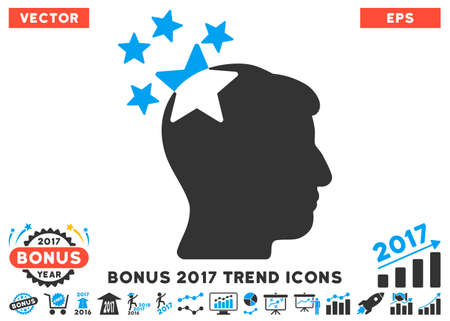 ruch: Blue And Gray Stars Hit Head pictogram with bonus 2017 year trend pictograph collection. Vector illustration style is flat iconic bicolor symbols, white background.