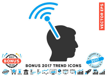 cerebra: Blue And Gray Radio Neural Interface icon with bonus 2017 trend pictograph collection. Vector illustration style is flat iconic bicolor symbols, white background. Stock Photo
