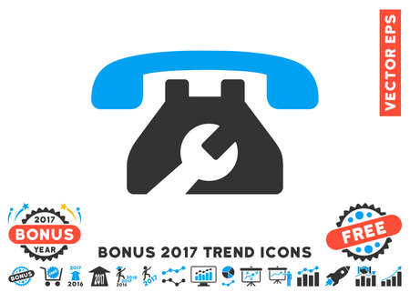 config: Blue And Gray Repair Service Phone pictograph with bonus 2017 year trend images. Vector illustration style is flat iconic bicolor symbols, white background. Stock Photo