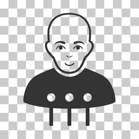 cerebra: Cyborg Interface vector pictogram. Illustration style is flat iconic gray symbol on a chess transparent background.