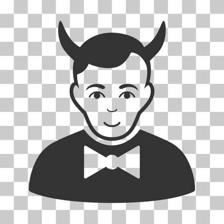 fearsome: Devil vector pictogram. Illustration style is flat iconic gray symbol on a chess transparent background. Illustration
