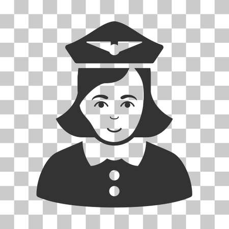 Airline Stewardess vector pictograph. Illustration style is flat iconic gray symbol on a chess transparent background.