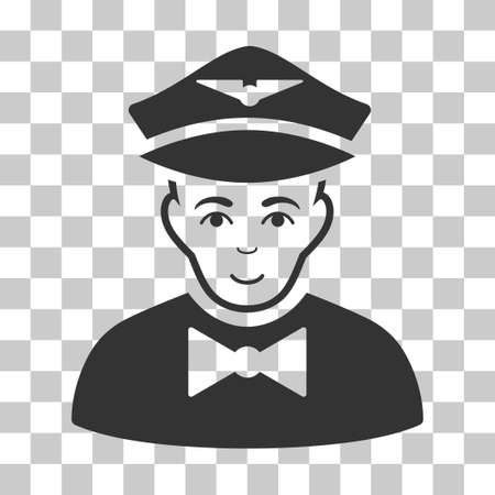 Airline Steward vector icon. Illustration style is flat iconic gray symbol on a chess transparent background. Illustration