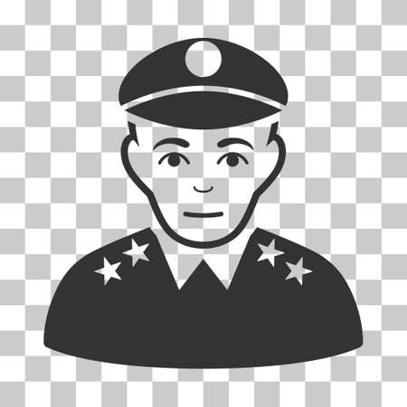 bobby: Army General vector pictogram. Illustration style is flat iconic gray symbol on a chess transparent background.