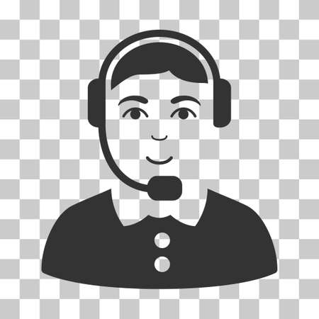 talker: Call Center Operator vector pictogram. Illustration style is flat iconic gray symbol on a chess transparent background.