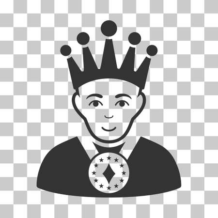 czar: King vector icon. Illustration style is flat iconic gray symbol on a chess transparent background. Illustration
