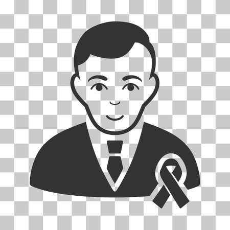 Gentleman With Mourning Ribbon vector pictograph. Illustration style is flat iconic gray symbol on a chess transparent background.