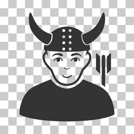 horned: Horned Warrior vector pictograph. Illustration style is flat iconic gray symbol on a chess transparent background.