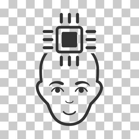 cranial: Neural Computer Interface vector pictograph. Illustration style is flat iconic gray symbol on a chess transparent background.