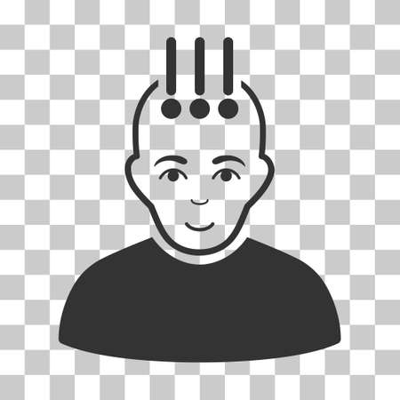 cerebra: Neural Interface vector icon. Illustration style is flat iconic gray symbol on a chess transparent background.