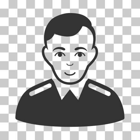 bobby: Officer vector pictograph. Illustration style is flat iconic gray symbol on a chess transparent background.