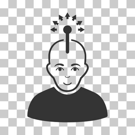 Optical Neural Interface vector pictograph. Illustration style is flat iconic gray symbol on a chess transparent background.