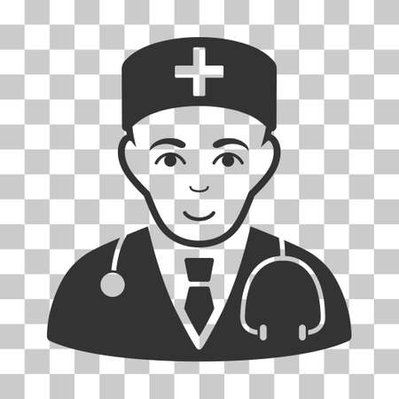 auscultation: Physician vector pictogram. Illustration style is flat iconic gray symbol on a chess transparent background.