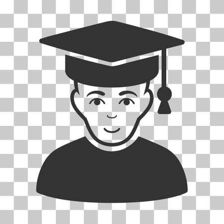 Professor Vektor Piktogramm. Illustrationsart ist flaches ikonenhaftes graues Symbol auf einem transparenten Hintergrund des Schachs. Vektorgrafik