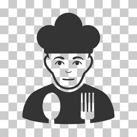 Sad Cook vector pictogram. Illustration style is flat iconic gray symbol on a chess transparent background.