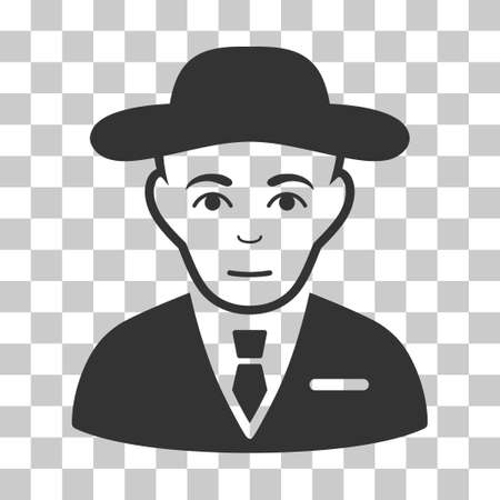Secret Service Agent vector icon. Illustration style is flat iconic gray symbol on a chess transparent background. Ilustração