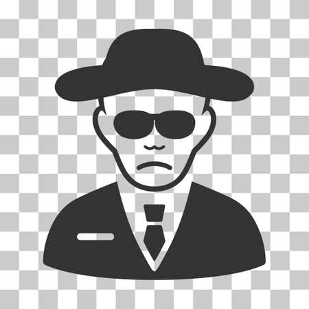 fbi: Security Agent vector pictogram. Illustration style is flat iconic gray symbol on a chess transparent background. Illustration