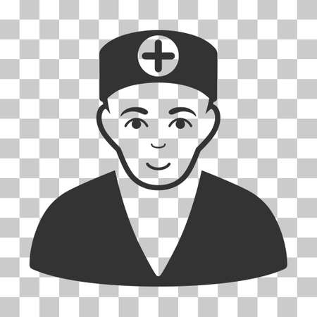 Medic vector pictogram. Illustration style is flat iconic gray symbol on a chess transparent background.