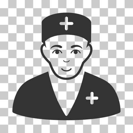 Medic vector icon. Illustration style is flat iconic gray symbol on a chess transparent background.