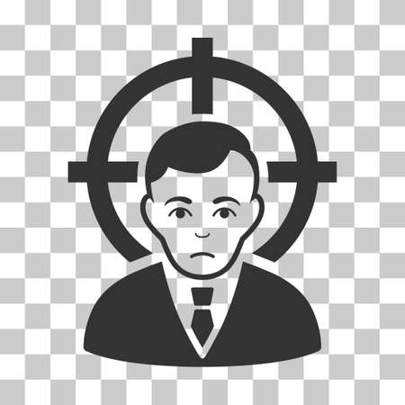 Victim Businessman vector pictogram. Illustration style is flat iconic gray symbol on a chess transparent background.
