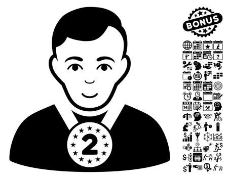 2nd: 2nd Prizer Sportsman icon with bonus business, time management and calendar graphic icons. Vector illustration style is flat iconic symbols, black color, white background. Illustration