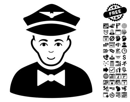 Airline Steward icon with bonus business, time management and calendar pictograms. Vector illustration style is flat iconic symbols, black color, white background. Illustration