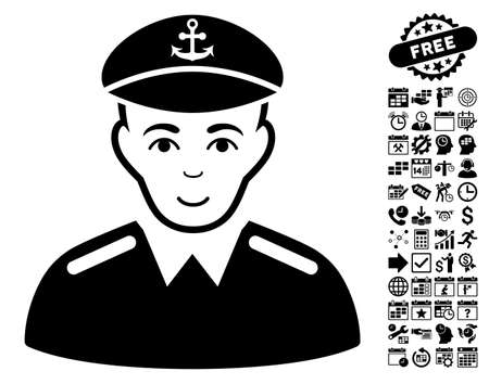 Captain icon with bonus business, time management and calendar images. Vector illustration style is flat iconic symbols, black color, white background.