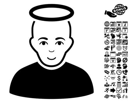 unreal: Holy Man icon with bonus business, time management and calendar design elements. Vector illustration style is flat iconic symbols, black color, white background. Illustration