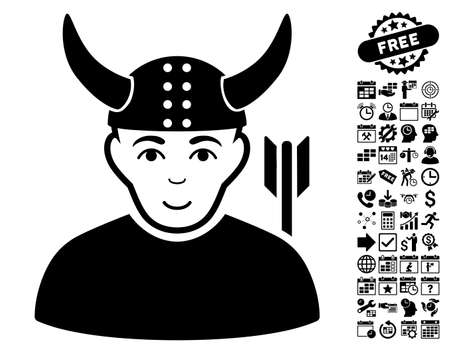 horned: Horned Warrior pictograph with bonus business, time management and calendar icon set. Vector illustration style is flat iconic symbols, black color, white background. Illustration
