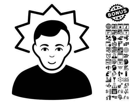 Inventor pictograph with bonus business, time management and calendar clip art. Vector illustration style is flat iconic symbols, black color, white background.