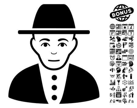 judaic: Jew pictograph with bonus business, time management and calendar symbols. Vector illustration style is flat iconic symbols, black color, white background. Illustration